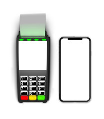 Payment terminal isolated on white background. Top view smartphone and terminal.