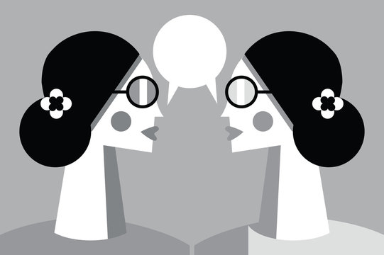 Two girls talking and sharing secrets concept