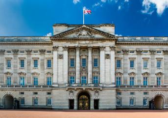 Buckingham Palace Facade On A Bright Sunny Day.