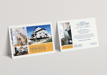 Real Estate Postcard Layout with Yellow Accents