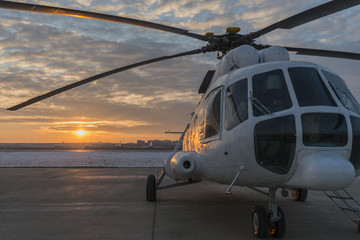 North Korean Mil Mi-17 Helicopter by the Sunset