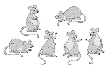 Set of funny grey mice in different postures on white background. Hand-drawn vector image.