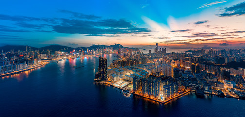 Hong Kong Cityscape from aerial view in sunset