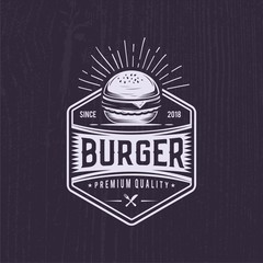 Retro Burger joint. Vintage fast food illustration. Logo wiener  design.  Black background white icon