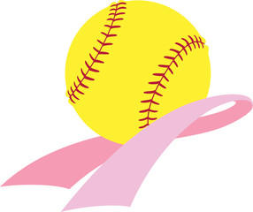 Softball resting inside a Breast Cancer Awareness pink ribbon.
