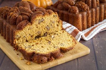 Homemade pumpkin bread made in decorative pan