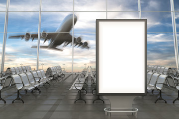 Airport departure lounge with advertising billboard stand