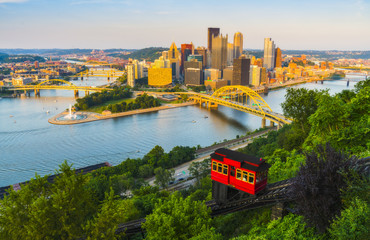 pittsburgh,pennsylvania,usa. 2017-08-20, beautiful pittsburgh at sunset.
