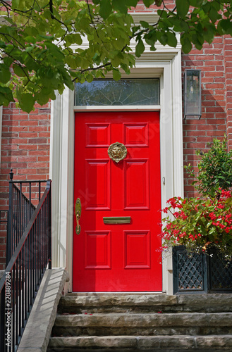 Bright Red Front Door Of House