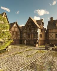 Wall Mural - Mediaeval Street on a Bright Sunny Day - fantasy illustration