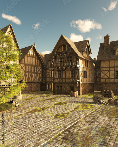 """Mediaeval Street on a Bright Sunny Day - fantasy illustration"" Stock photo and royalty-free images on Fotolia.com - Pic 220890475"