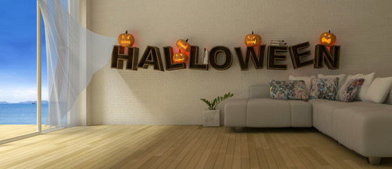 "3d rendering image of living room which have Pumkind heads on the word "" HALLOWEEN "" on the wall."