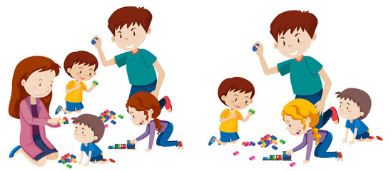 Set of family playing with blocks