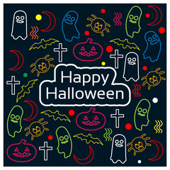 Happy Halloween with doodle design background. vector illustrator