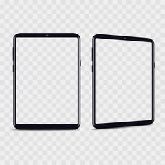 Realistic smartphone from different views with transparent background. Vector.