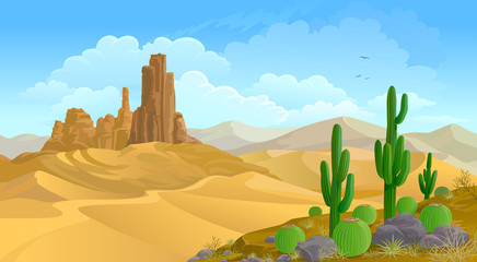 Mountainous background and a desert landscape.