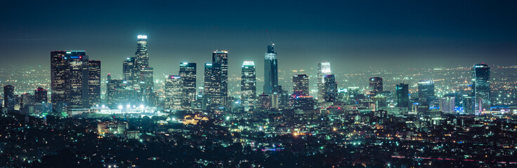 Self adhesive Wall Murals Night highway scenic view of Los Angeles skyscrapers at night,California,usa.