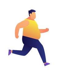 Overweight man jogging vector illustration. Weight loss jogging and fitness training, dieting and cardio training, keeping fit and healthy lifestyle conscious concept. Isolated on white background.