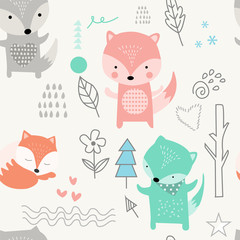 fox seamless patterns.pattern swatches included for illustrator user, pattern swatches included in file, for your convenient use.