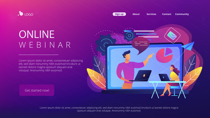 Student with laptop and lector at the LCD screen. Online webinar landing page. Webinar, web seminars and peer-level web meetings, modern education. Vector illustration on ultraviolet background.