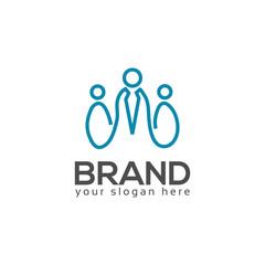 line Person logo vector, Flat logo design