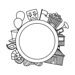 line circle emblem with carnival entertainment party