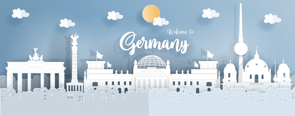 Fototapete - Panorama travel postcard and poster of Germany famous landmarks in paper origami style. Vector illustration.
