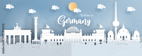 Fototapete Panorama travel postcard and poster of Germany famous landmarks in paper origami style. Vector illustration.