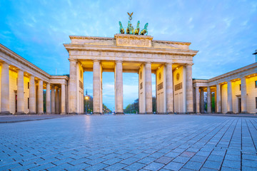 The Brandenburg Gate at twilight the famous place in Berlin, Germany