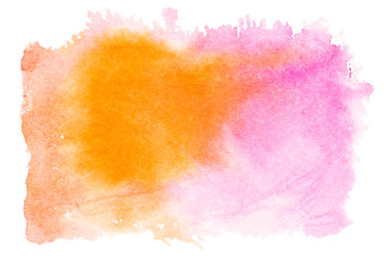 Pink orange watercolor splash isolated on white background. Hand drawn painting.