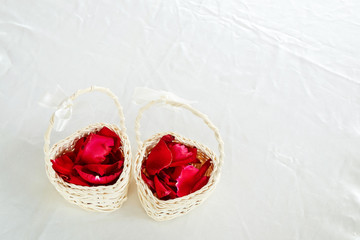 Rose Pedals in a Mini Basket for Wedding Ceremony