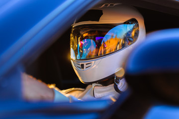 Door stickers F1 A Helmeted Driver At The Wheel Of His Race Car