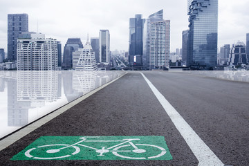 bike lane with futuristic city metro building for eco transport system in urban concept