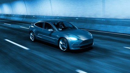 Modern Electric car rides through tunnel with cold blue light style 3d rendering Wall mural