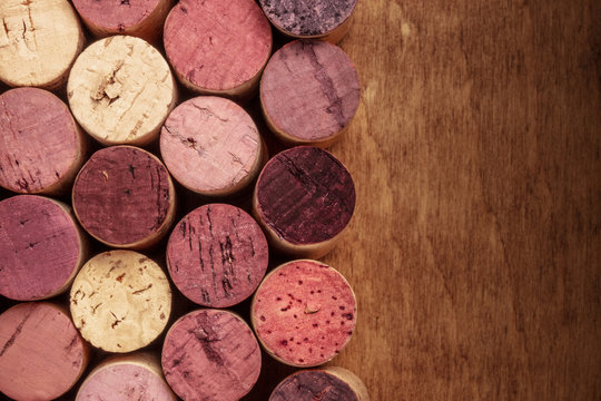Wine corks background, overhead photo of red and white wine corks with copyspace