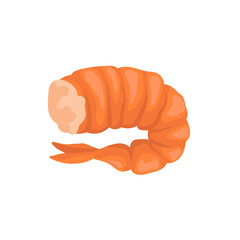 Boiled shrimp without head in bright red shell. Fresh and tasty prawn. Seafood theme. Flat vector icon