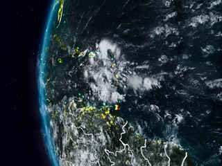 Caribbean from space during night