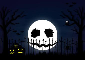 Halloween day pumpkins and the devil's moon dark blue background
