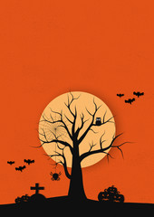 Halloween day pumpkins and Dead tree owl red background and  space for text vector