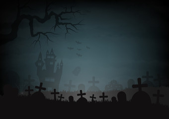 Halloween day and castle graves graveyard space for text vector