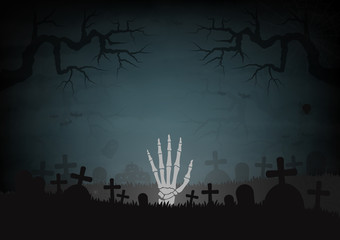 Halloween day and graves graveyard space for text vector