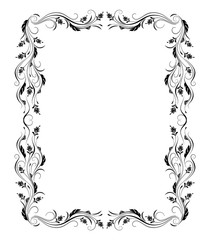 Decorative vintage frame with floral ornament in retro style