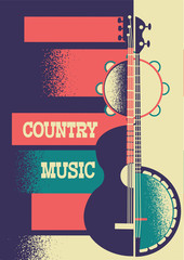 Music poster background with musical instruments and decoration for text