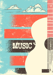 Country Music poster with musical instrument acoustic guitar.Vector background for text.