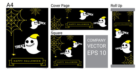 Happy Halloween Banner Background With Ghost and Spider Cartoon Vector Set Illustration