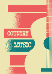 Country Music background with musical instrument acoustic guitar and text.
