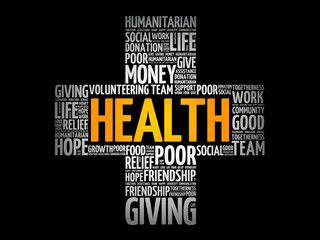 Health word cloud collage, cross concept background