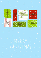 Christmas greeting card with color gift boxes