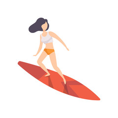 Surfer girl riding a surfboard, young woman enjoying summer vacation on the sea or ocean vector Illustration on a white background
