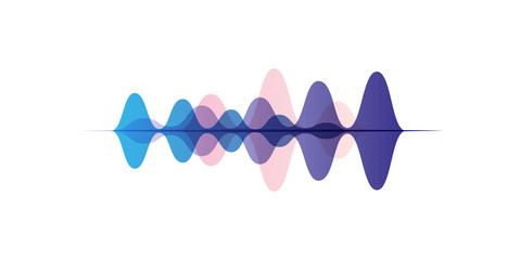 Sound waves of different colors, audio digital equalizer technology, vector Illustration on a white background Wall mural